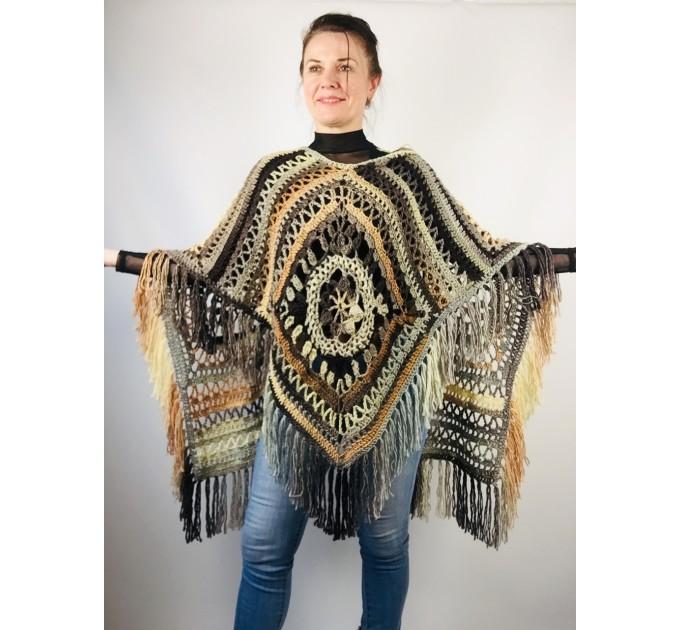Black obsidian poncho cape coat halloween poncho fringe wool cape poncho crochet blanket poncho mexico poncho alternative poncho  Wool  1