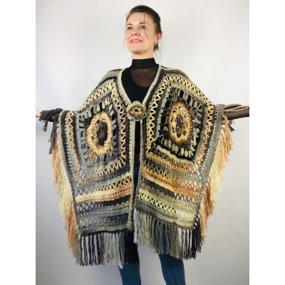 Black obsidian poncho cape coat halloween poncho fringe wool cape poncho crochet blanket poncho mexico poncho alternative poncho