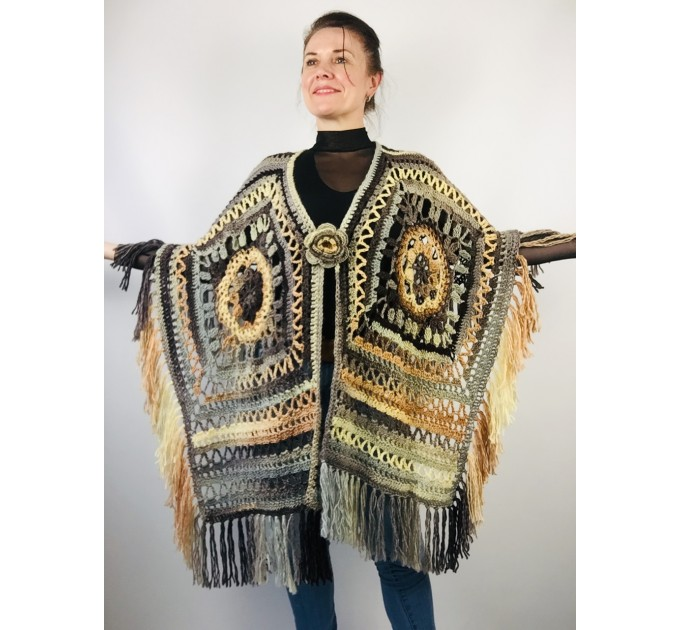 Knit poncho green wool cape poncho fringe crochet blanket poncho rainbow hippie poncho unisex poncho wrap multicolor mexico poncho  Wool  2