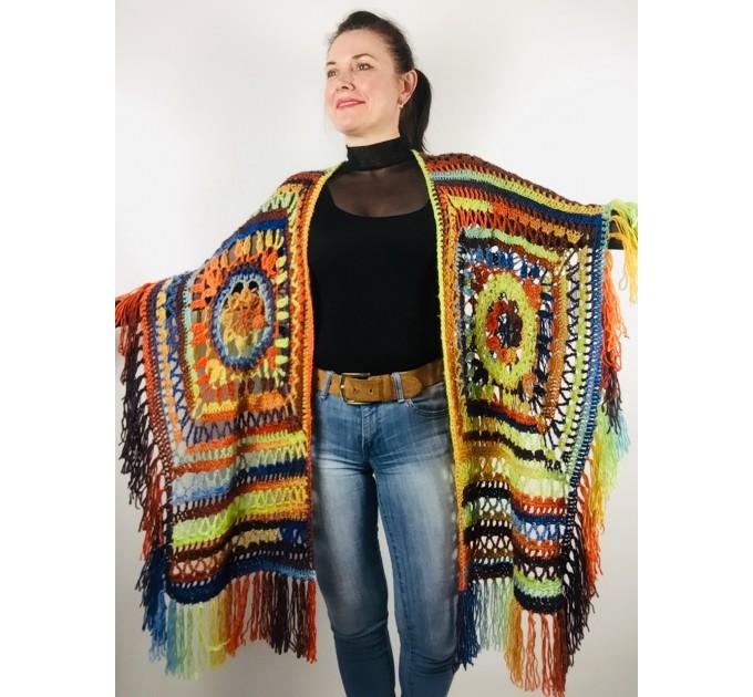 Knit poncho green wool cape poncho fringe crochet blanket poncho rainbow hippie poncho unisex poncho wrap multicolor mexico poncho  Wool  6