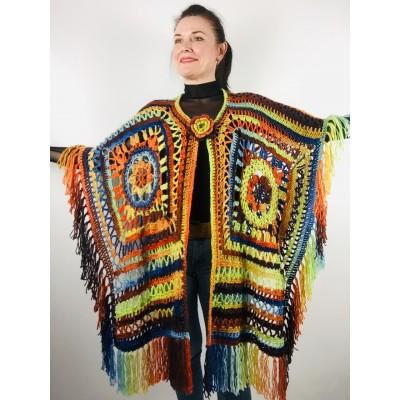 Rainbow wool fringe cape poncho crochet blanket poncho hippie poncho multicolor mexico poncho unisex poncho wrap poncho cape coat