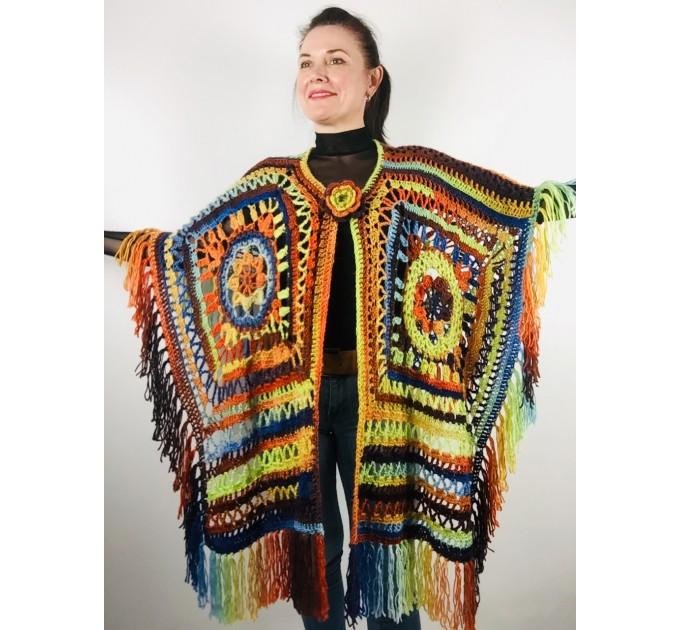 Knit poncho green wool cape poncho fringe crochet blanket poncho rainbow hippie poncho unisex poncho wrap multicolor mexico poncho  Wool  5