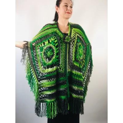 Knit poncho green wool cape poncho fringe crochet blanket poncho rainbow hippie poncho unisex poncho wrap multicolor mexico poncho