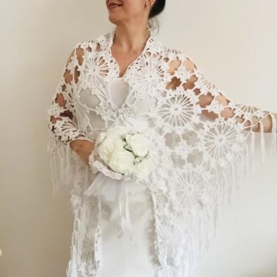 Ivory Bride Shawl Fringe, wedding cape Mohair wedding capelet, Bridal Cape, Bridesmaid shawl, Wedding wrap, Cotton shawl Lace boho