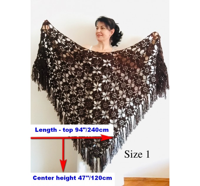 Black Alpaca shawl Wedding shawl, Mohair Bridal cover up, warm wool Triangle shawl fringe, Black lace shawl, Bridesmaid gift, Bride shawl  Shawl / Wraps  11