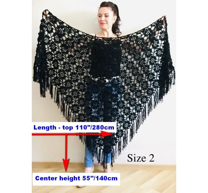 Black Alpaca shawl Wedding shawl, Mohair Bridal cover up, warm wool Triangle shawl fringe, Black lace shawl, Bridesmaid gift, Bride shawl  Shawl / Wraps  12
