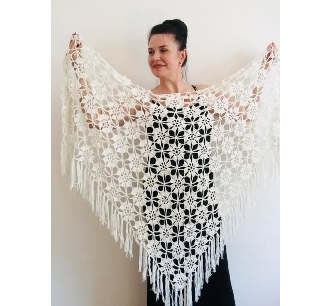 Black Alpaca shawl Wedding shawl, Mohair Bridal cover up, warm wool Triangle shawl fringe, Black lace shawl, Bridesmaid gift, Bride shawl  Shawl / Wraps  2