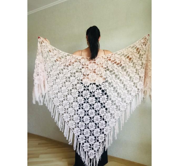 Black Alpaca shawl Wedding shawl, Mohair Bridal cover up, warm wool Triangle shawl fringe, Black lace shawl, Bridesmaid gift, Bride shawl  Shawl / Wraps  4