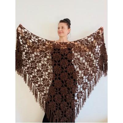 Brown Wedding shawl Alpaca Triangle shawl fringe Wool shawl Knitted wrap Mohair Bridal winter shawl Black warm Bridesmaid gift Bride shawl