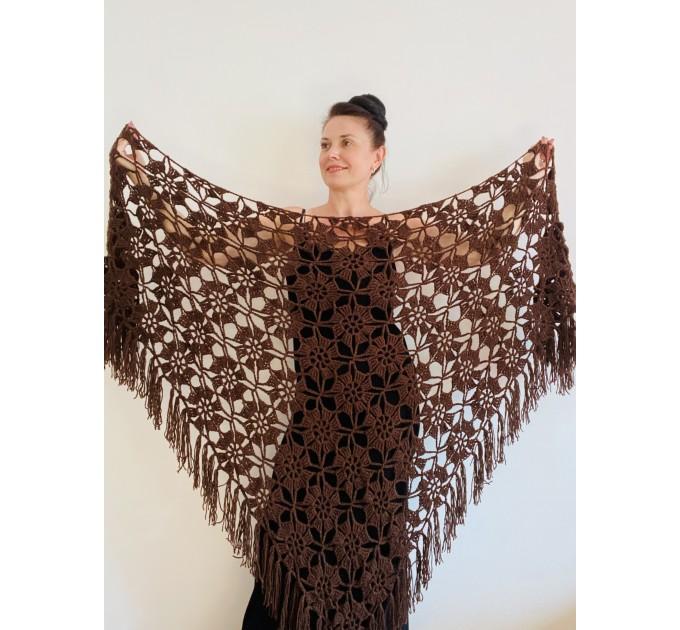 Black Alpaca shawl Wedding shawl, Mohair Bridal cover up, warm wool Triangle shawl fringe, Black lace shawl, Bridesmaid gift, Bride shawl  Shawl / Wraps  3