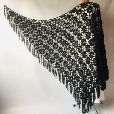 Black Alpaca shawl Wedding shawl, Mohair Bridal cover up, warm wool Triangle shawl fringe, Black lace shawl, Bridesmaid gift, Bride shawl