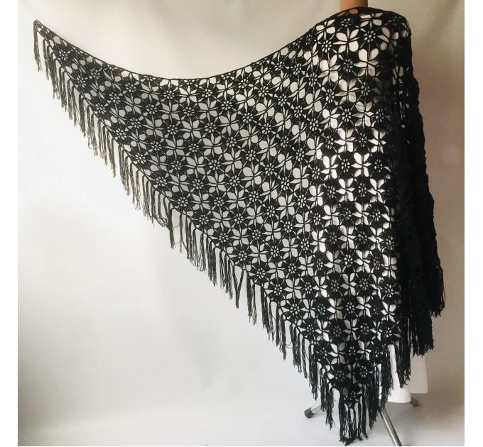 Black Alpaca shawl Wedding shawl, Mohair Bridal cover up, warm wool Triangle shawl fringe, Black lace shawl, Bridesmaid gift, Bride shawl  Shawl / Wraps