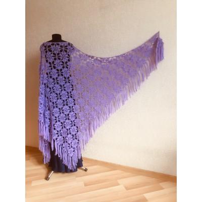 Lilac Triangle shawl fringe Alpaca shawl Crochet Mohair Bridesmaid shawl Bridal Violet Wool winter Wedding shawl Knitted warm wrap Purple