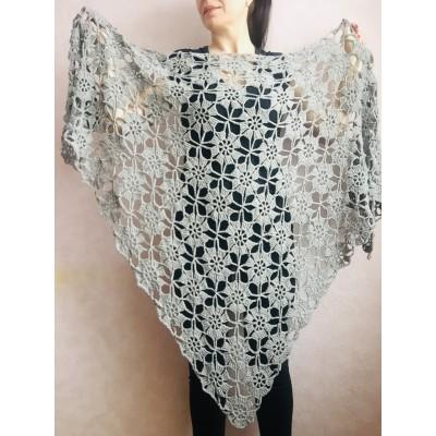 Gray alpaca triangle shawl fringe mohair bridal winter shawl  wedding shawl Crochet Wedding shawl silver warm wool shawl Knitted wrap