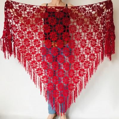 Red mohair alpaca triangle shawl fringe bridal winter shawl wedding shawl Crochet Wedding shawl warm wool shawl Knitted wrap