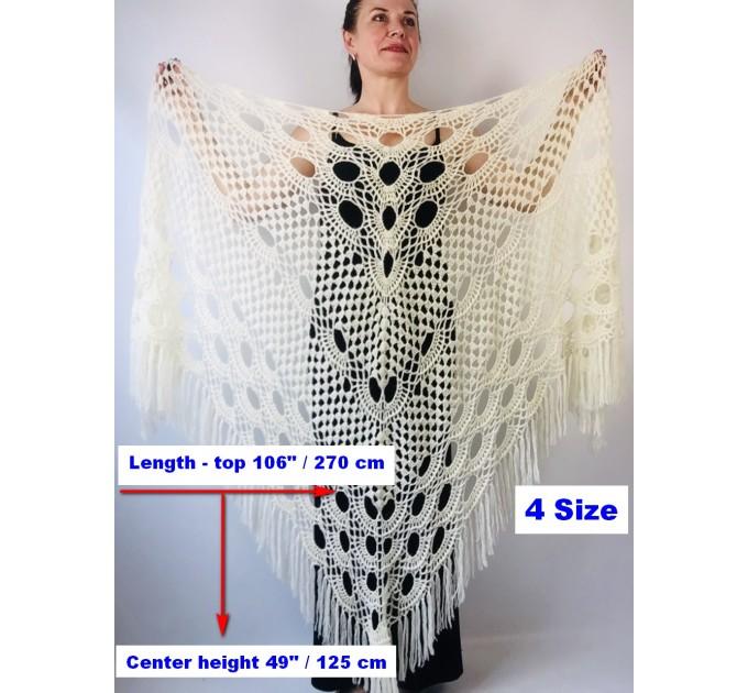 Ivory bride shawl winter cream wool triangle shawl fringe bridal shawl wedding cape bride cover up bridal party shawl bridesmaid shawl  Shawl / Wraps  12
