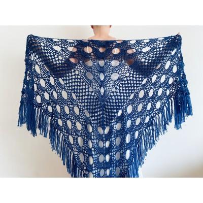 Blue Wedding shawl, Bridal shawl, Bridesmaid gift, Knitted wrap, Bridal cover up, Triangle wool warm Shawl fringed, Fall winter wedding