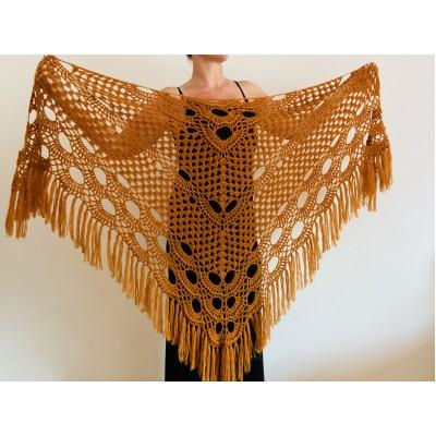 Mustard Bride Shawl Fringe, Mohair Bridal Cover up, Bridesmaid Wrap Gift, Wedding Cape, Brown Scarf shawl Lace boho mohair