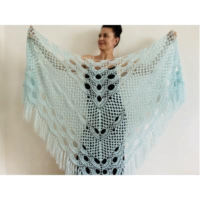 Mint triangle shawl fringe lace wedding cape bridal shawl wedding dress shawl bridal cape bridesmaid shawl wedding capelet bride shawl