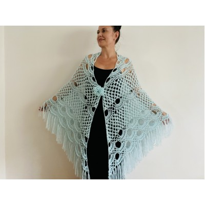 Mint triangle shawl fringe lace wedding bridal shawl bridal cape bridesmaid shawl wedding capelet bride shawl