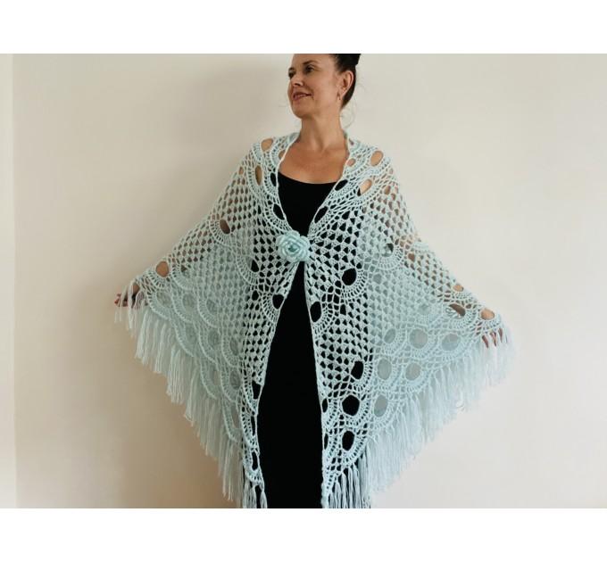 Mint triangle shawl fringe lace wedding bridal shawl bridal cape bridesmaid shawl wedding capelet bride shawl  Shawl / Wraps