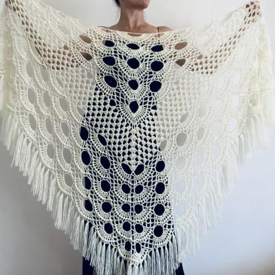 White Wedding Shawl Fringe, Ivory Mohair Bridal Shawl, Bridesmaid Gift Light gray Triangle Wrap Evening Hand Knit scarf Champagne
