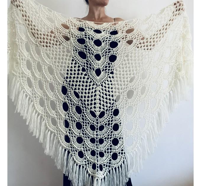 Ivory bride shawl winter cream wool triangle shawl fringe bridal shawl wedding cape bride cover up bridal party shawl bridesmaid shawl  Shawl / Wraps  7