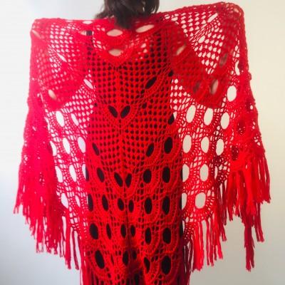 Red shawl wedding wrap wine bridal shawl fall winter wedding shawl bridesmaid shawl triangle shawl fringe bride shawl wedding wrap
