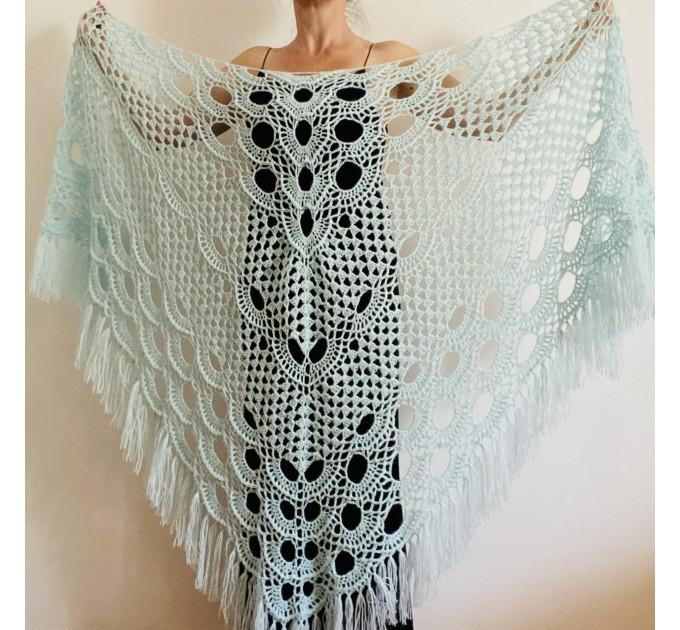 Ivory bride shawl winter cream wool triangle shawl fringe bridal shawl wedding cape bride cover up bridal party shawl bridesmaid shawl  Shawl / Wraps  1