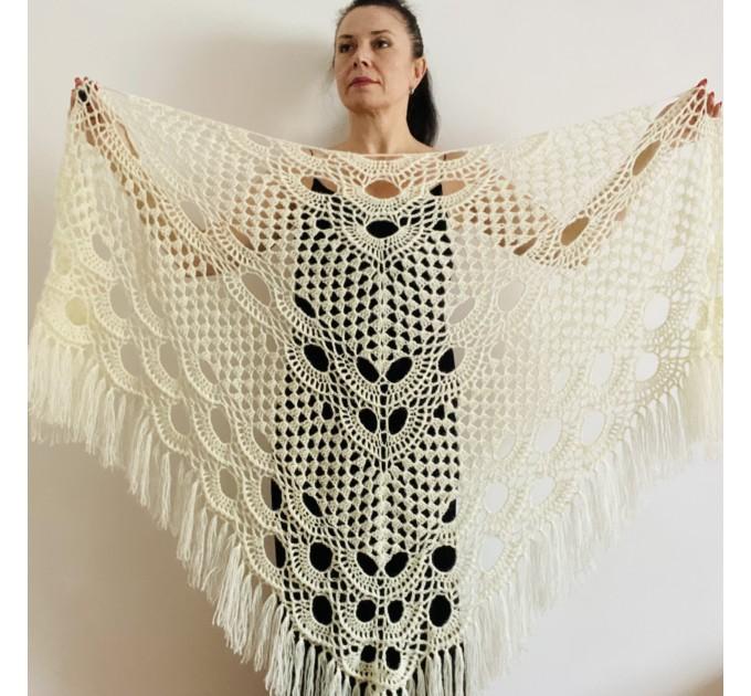 Ivory bride shawl winter cream wool triangle shawl fringe bridal shawl wedding cape bride cover up bridal party shawl bridesmaid shawl  Shawl / Wraps