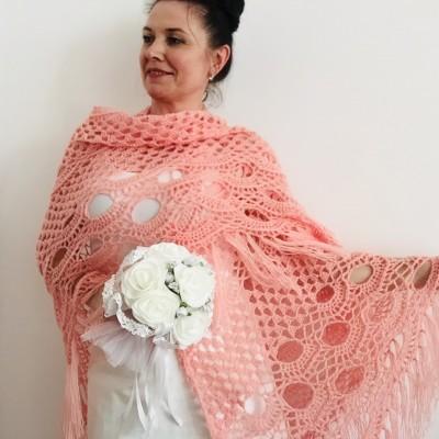 Pink bridal shawl wedding dress shawl triangle shawl fringe lace wedding cape bridal cape bridesmaid shawl wedding capelet bride shawl