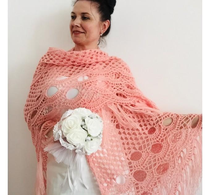 Ivory bride shawl winter cream wool triangle shawl fringe bridal shawl wedding cape bride cover up bridal party shawl bridesmaid shawl  Shawl / Wraps  5