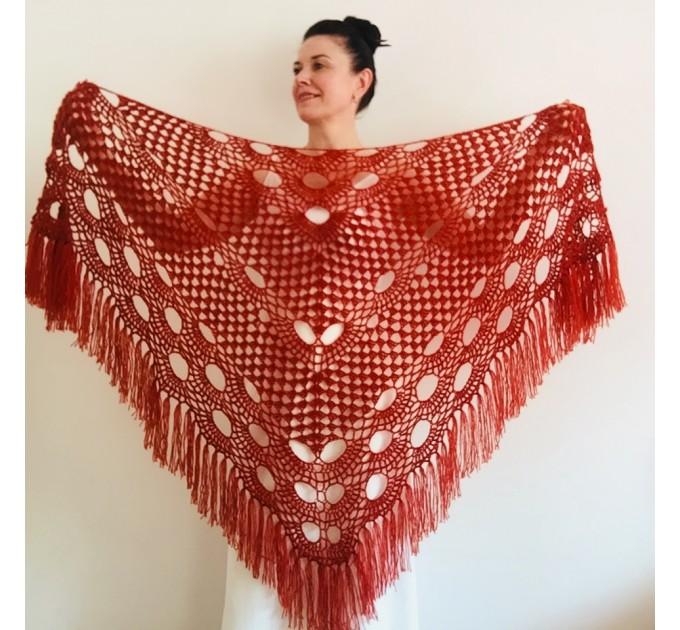 Ivory bride shawl winter cream wool triangle shawl fringe bridal shawl wedding cape bride cover up bridal party shawl bridesmaid shawl  Shawl / Wraps  3