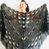 Black Wedding shawl, Knitted wrap, Bridal cover up, Mohair warm wool Triangle shawl fringe, Black lace shawl, Bridesmaid gift, Bride shawl