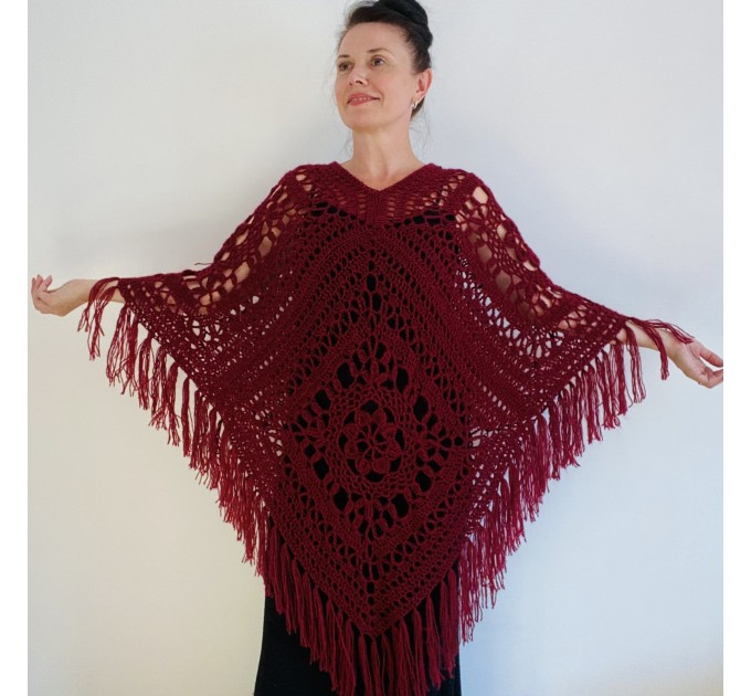 Turquoise woman poncho fringe Emerald wool cape cover up Hippie poncho women granny square poncho Blue wrap anniversary gift wife mom sister  Mohair / Alpaca  6