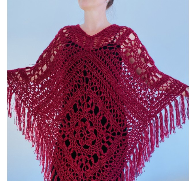 Turquoise woman poncho fringe Emerald wool cape cover up Hippie poncho women granny square poncho Blue wrap anniversary gift wife mom sister  Mohair / Alpaca  7
