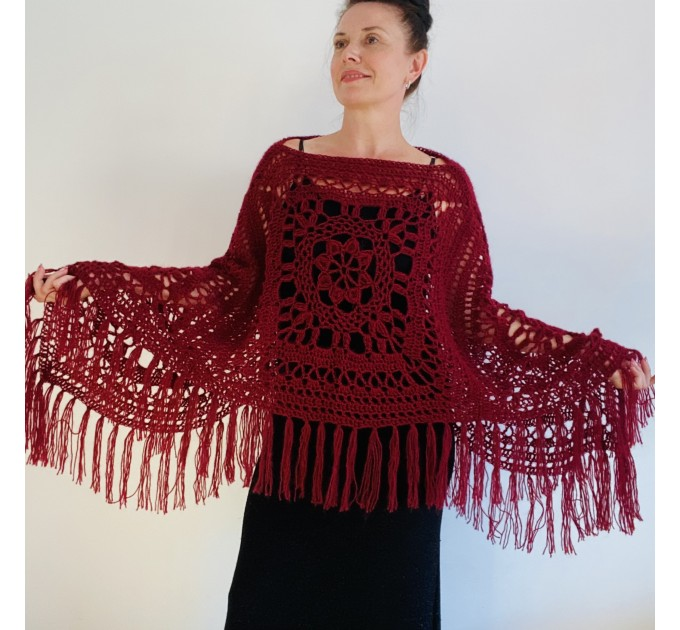 Turquoise woman poncho fringe Emerald wool cape cover up Hippie poncho women granny square poncho Blue wrap anniversary gift wife mom sister  Mohair / Alpaca  8