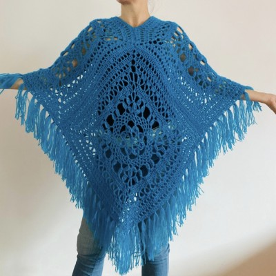 Turquoise woman poncho fringe Emerald wool cape cover up Hippie poncho women granny square poncho Blue wrap anniversary gift wife mom sister