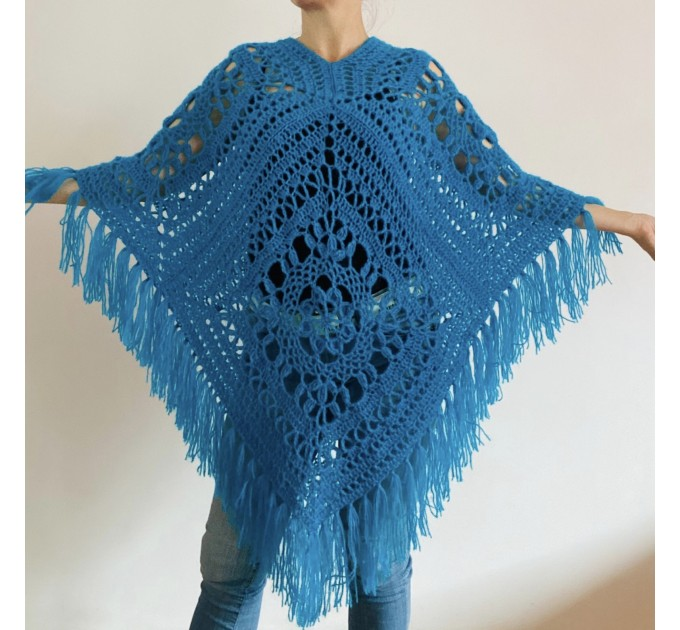 Turquoise woman poncho fringe Emerald wool cape cover up Hippie poncho women granny square poncho Blue wrap anniversary gift wife mom sister  Mohair / Alpaca