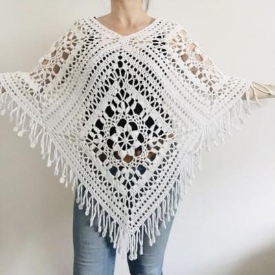 White poncho women, Plus size poncho fringe, Boho wool mohair poncho Girls poncho cape Festival Unisex loose knit