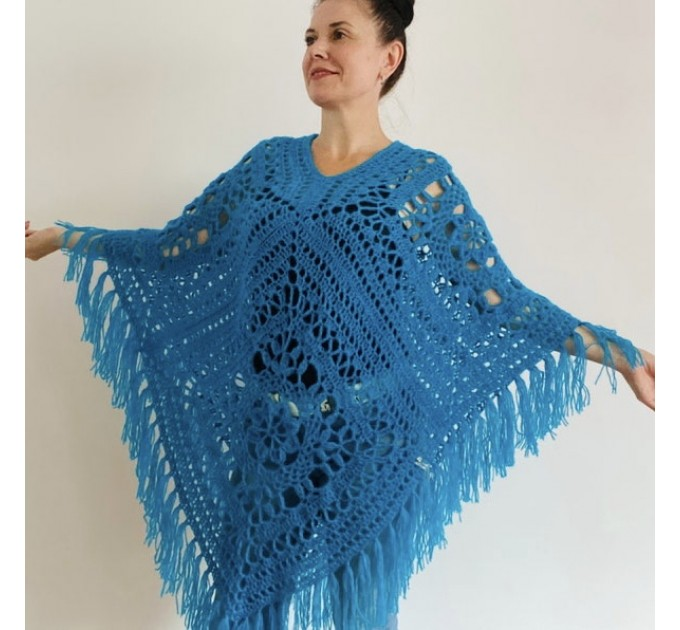 Turquoise woman poncho fringe Emerald wool cape cover up Hippie poncho women granny square poncho Blue wrap anniversary gift wife mom sister  Mohair / Alpaca  2