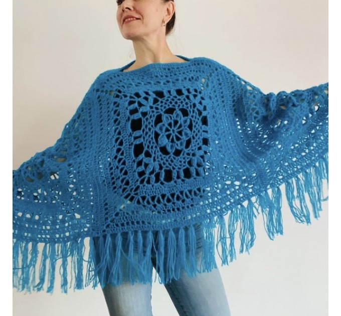 Turquoise woman poncho fringe Emerald wool cape cover up Hippie poncho women granny square poncho Blue wrap anniversary gift wife mom sister  Mohair / Alpaca  3