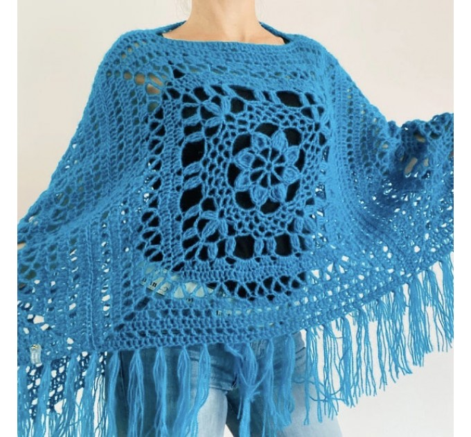 Turquoise woman poncho fringe Emerald wool cape cover up Hippie poncho women granny square poncho Blue wrap anniversary gift wife mom sister  Mohair / Alpaca  4