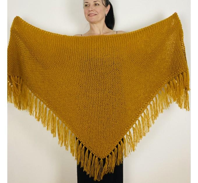 Mustard bridal shawl warm knit shoulder wrap fall mohair triangle shawl fringe wool winter wedding shawl bridal cover up anniversary gift  Shawl / Wraps  1
