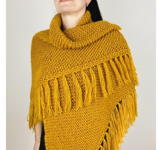 Mustard bridal shawl warm knit shoulder wrap fall mohair triangle shawl fringe wool winter wedding shawl bridal cover up anniversary gift  Shawl / Wraps  3