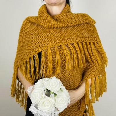 Mustard bridal shawl warm knit shoulder wrap fall mohair triangle shawl fringe wool winter wedding shawl bridal cover up anniversary gift