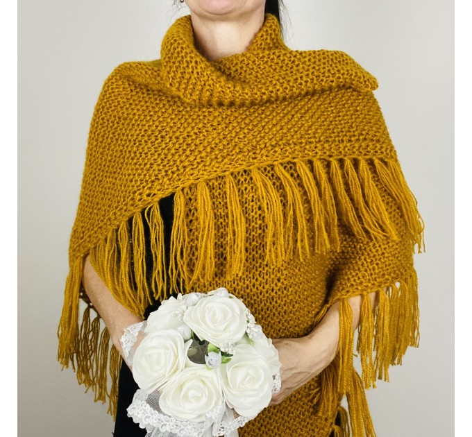 Mustard bridal shawl warm knit shoulder wrap fall mohair triangle shawl fringe wool winter wedding shawl bridal cover up anniversary gift  Shawl / Wraps