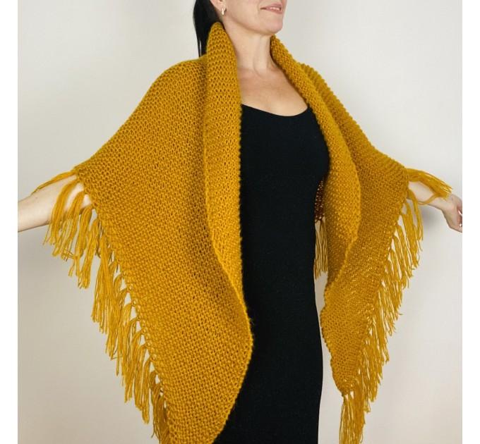 Mustard bridal shawl warm knit shoulder wrap fall mohair triangle shawl fringe wool winter wedding shawl bridal cover up anniversary gift  Shawl / Wraps  4