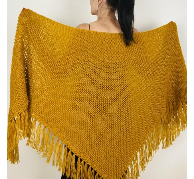 Mustard bridal shawl warm knit shoulder wrap fall mohair triangle shawl fringe wool winter wedding shawl bridal cover up anniversary gift  Shawl / Wraps  5