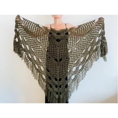 Dark Green Bridal Shawl Triangle 861 Fringe Bridesmaid gift Boho Wedding capelet shawl winter